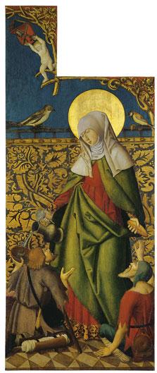 Santa Isabel ofreciendo pan y vino a los mendigos